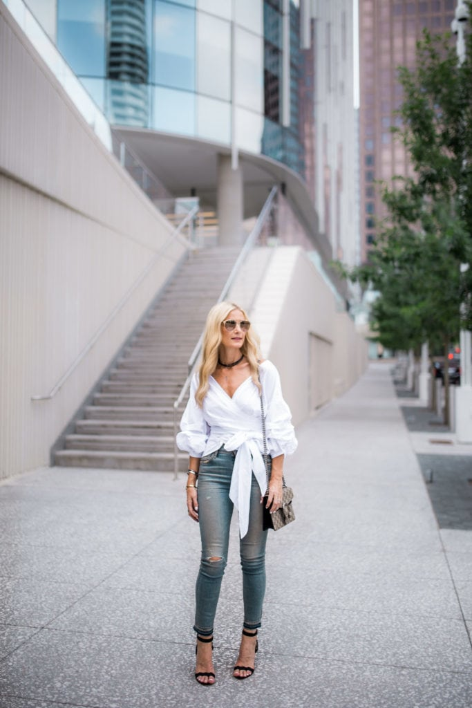 Storets white top, Dallas Fashion Blogger, Heather Anderson, Cropped Denim