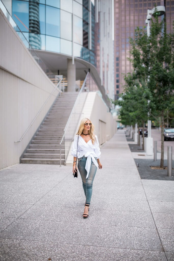 Storets white top, Dallas Style Blogger, Black Choker