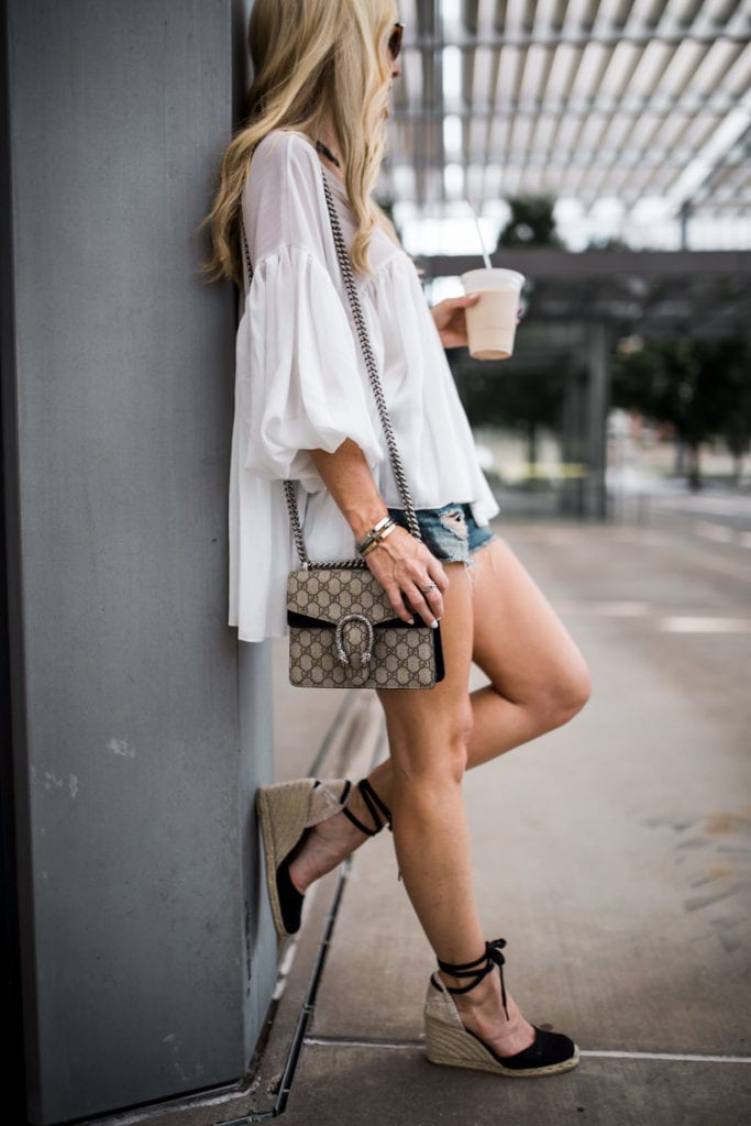 Gucci Mini Shoulder Bag, Castaner Wedges, Dallas Fashion Blogger