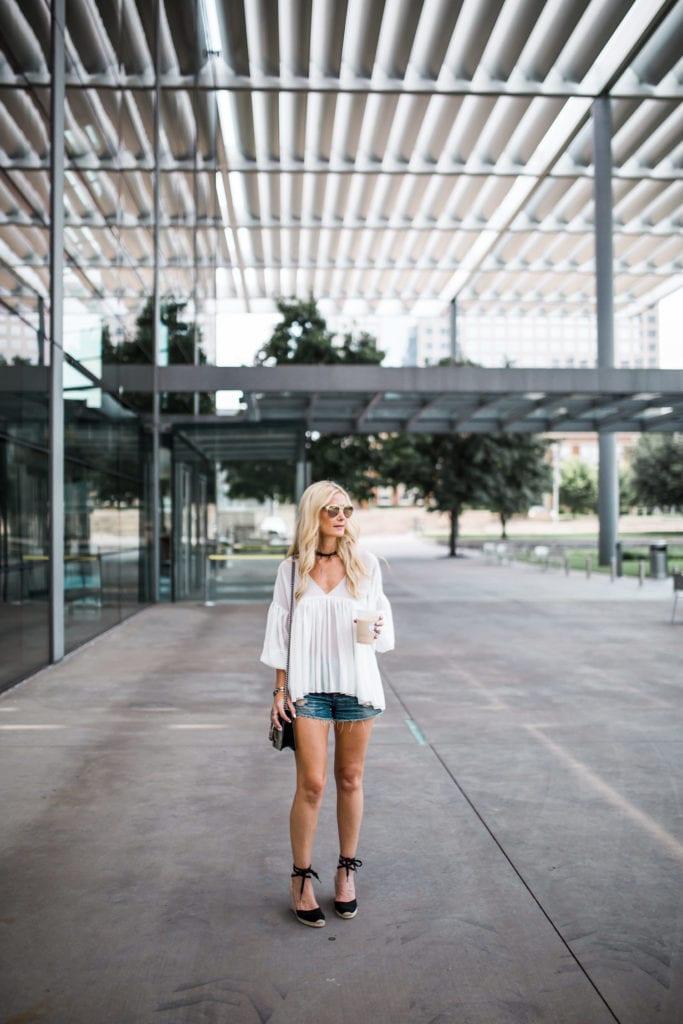 Heather Anderson, Dallas Fashion Blogger, White boho top
