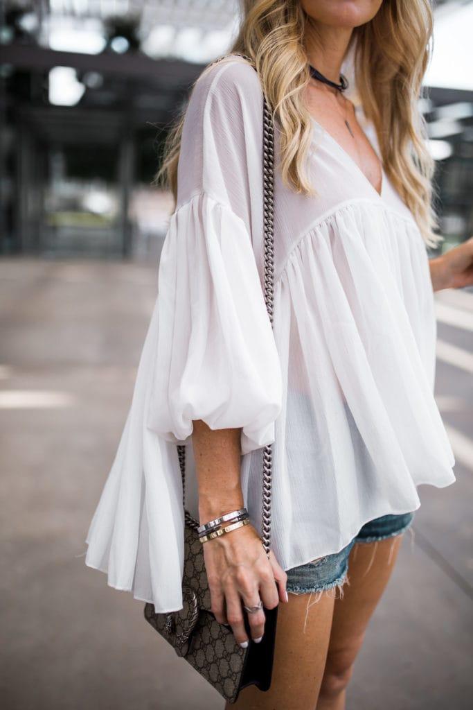 chic wish top, Dallas Style Blogger, Boho White Top