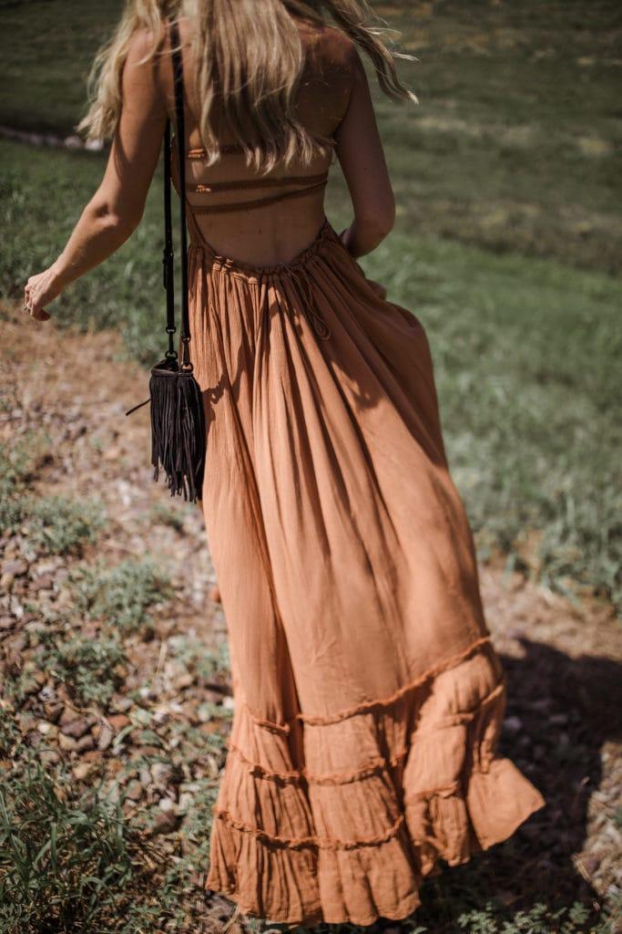 Free People Maxi Dress, Dallas Style Blogger, Black Fringe Handbag