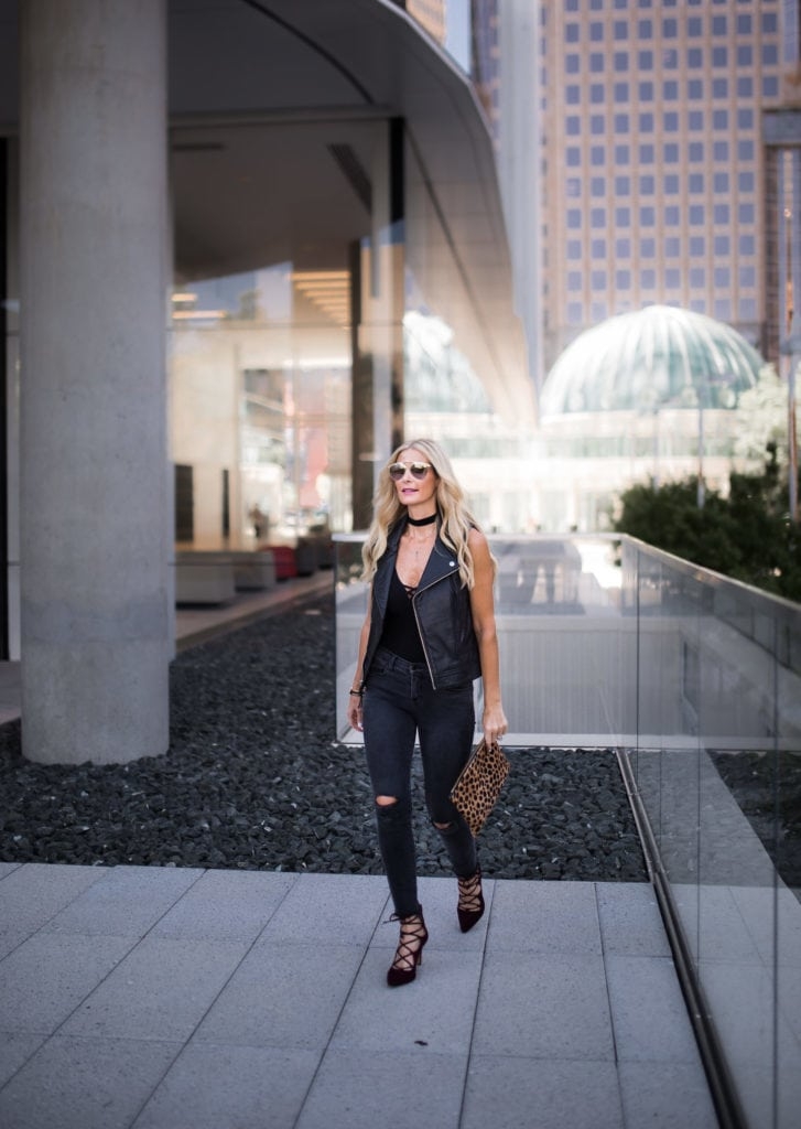 Moto Vest, Dallas Fashion Blogger, Black Ripped Jeans, Lace-Up Heels