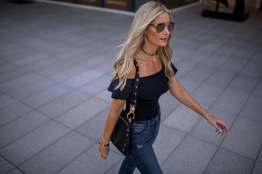 Topshop off the shoulder top, Dallas Style Blogger, Hammitt LA handbag