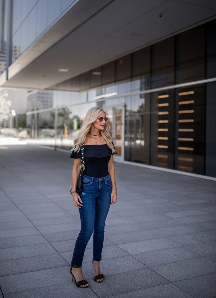 Topshop bodysuit, Heather Anderson, Frame denim jeans
