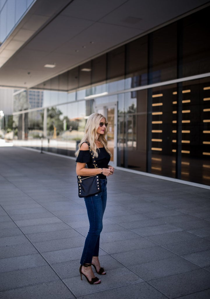 Topshop off the shoulder top, Heather Anderson, Dallas Fashion Blogger, Frame denim jeans