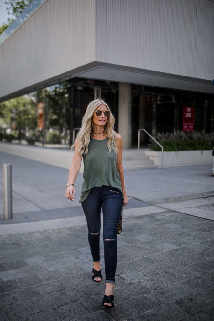 current elliott muscle tank, Black Ripped Jeans, Dallas Fashion Blogger