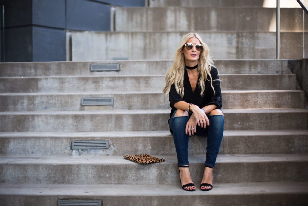 Alana High-Rise Crop, Dallas Style Blogger, Clare V Leopard Clutch