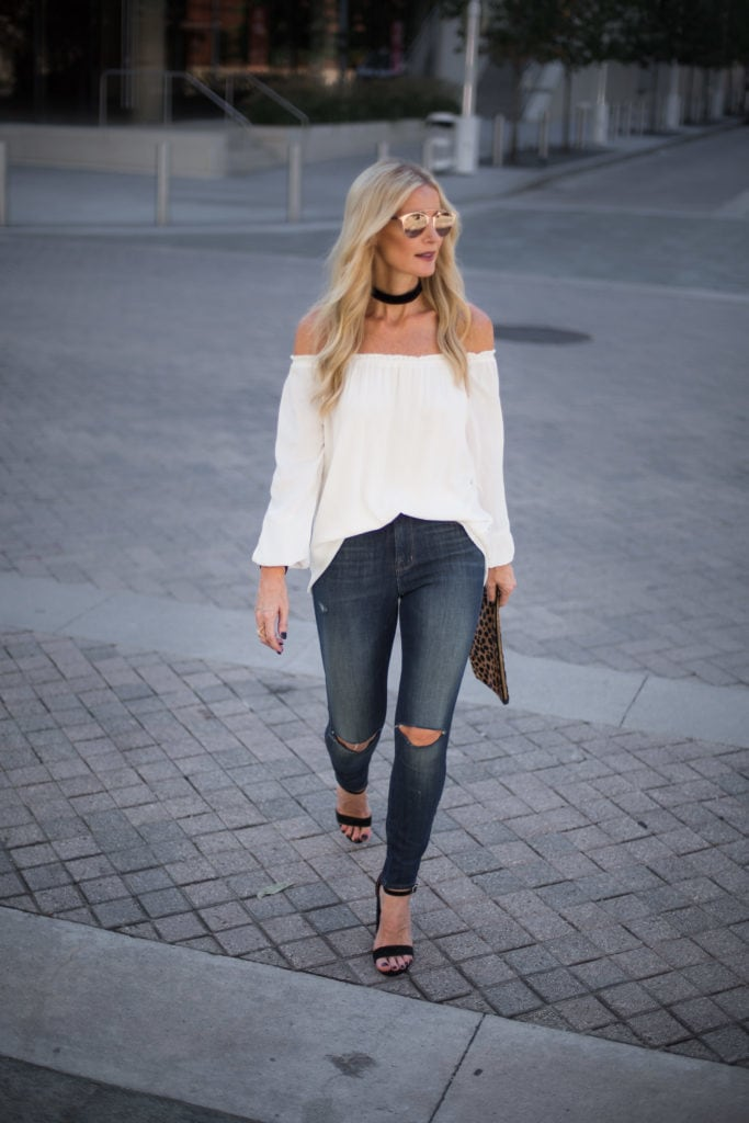 Sanctuary Off the Shoulder Top, J Brand Jeans, Heather Anderson, Dallas Fashion Blogger