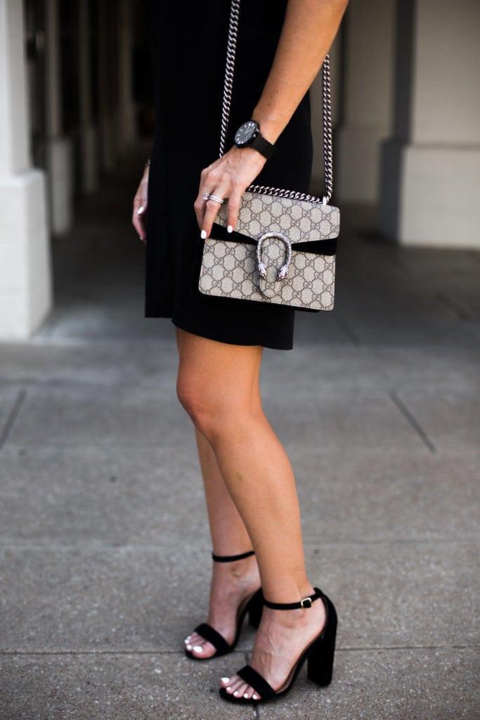 Topshop Black Dress, Gucci Handbag, Steve Madden Block Heels