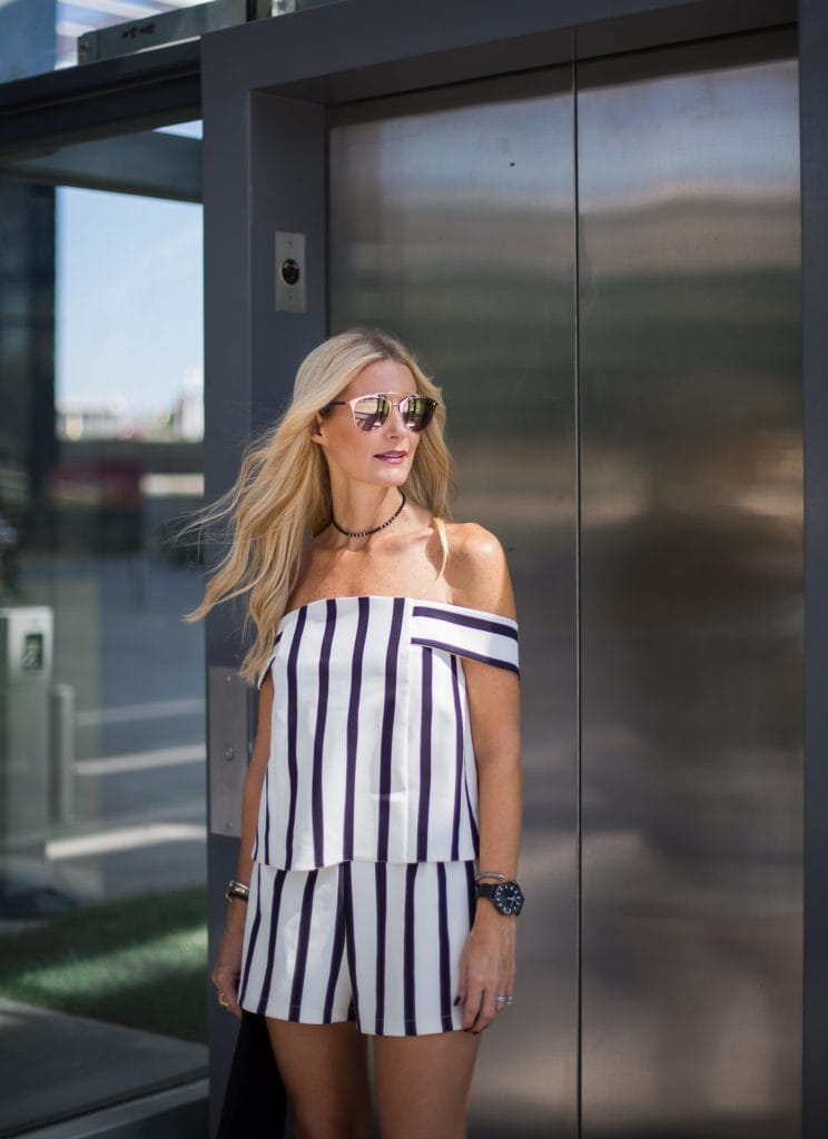 e057d4b17ab6 Topshop Romper   Striped Romper   Dallas Fashion Blogger