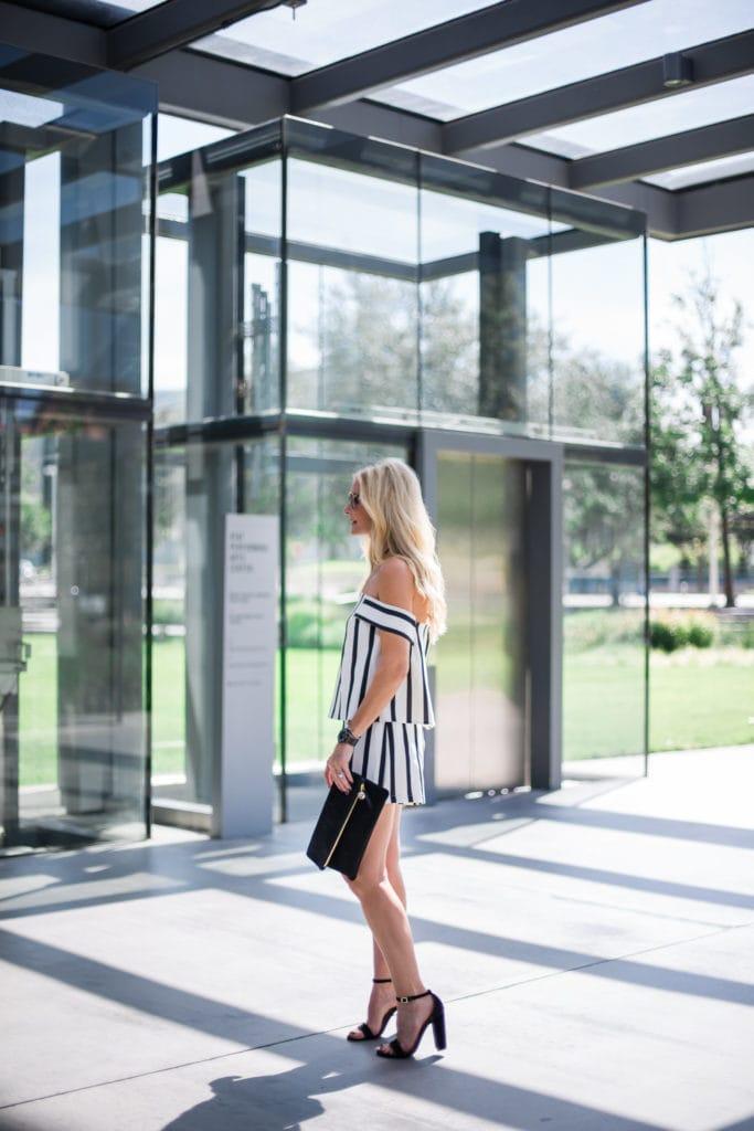 Clare V Clutch, Steve Madden Black Heels, Dallas Fashion Blogger, Romper