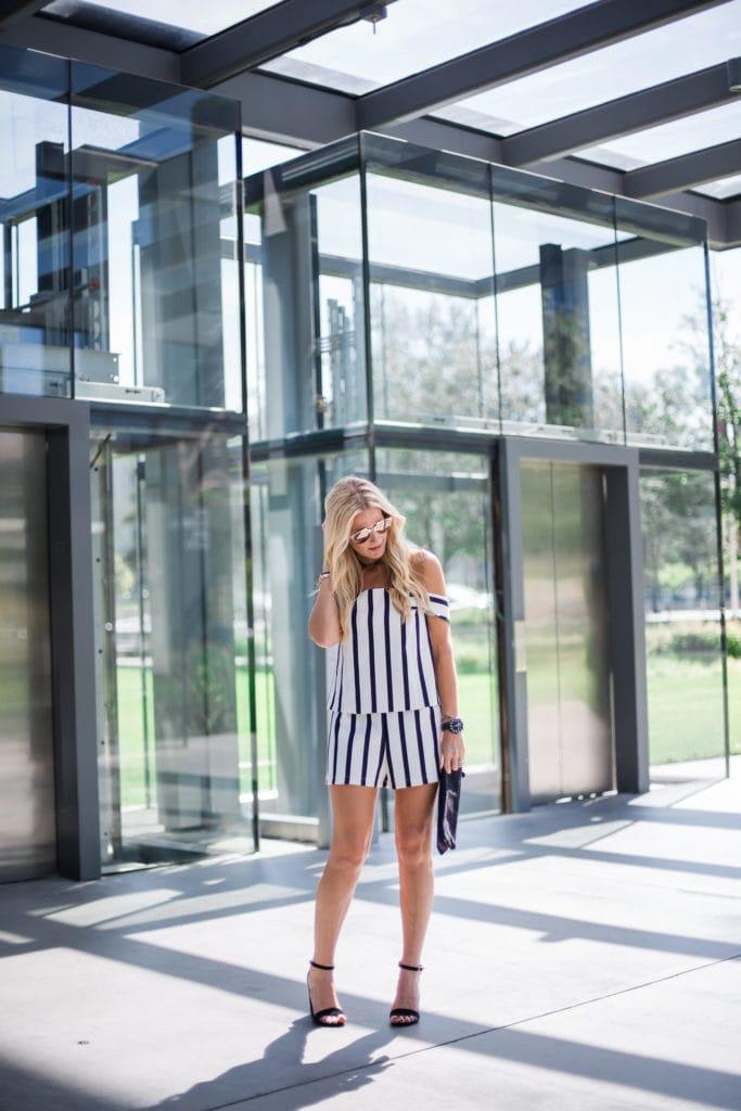 Striped Romper, Clare V Clutch, Heather Anderson, Dallas Fashion Blogger