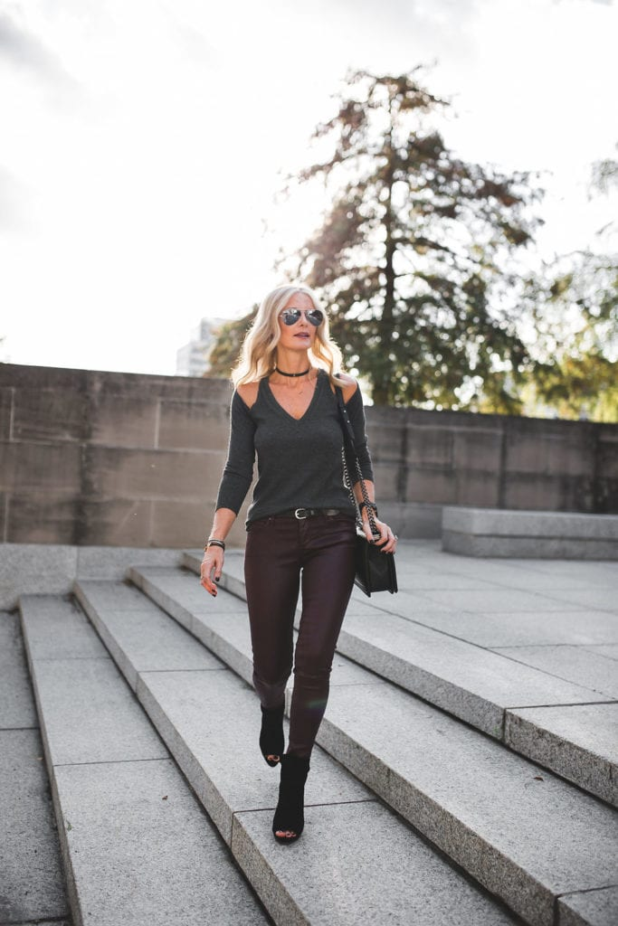 Cold Shoulder Top and Burgundy Leatherette Leggings