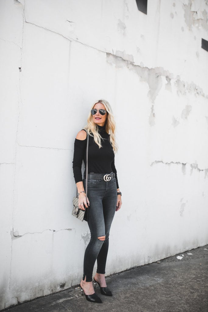 Gucci Belt and Rag and Bone Black Ripped Jeans