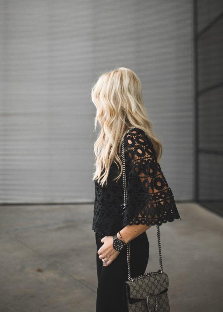 Black Crochet Top and Gucci Handbag