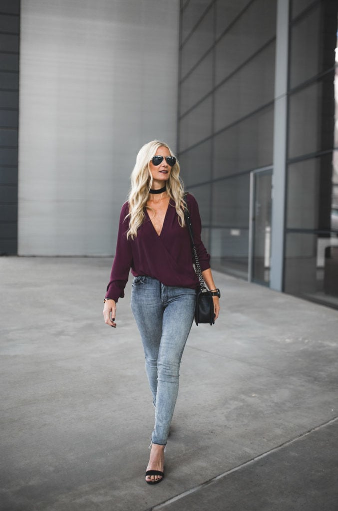 Burgundy Silk Top and gray jeans