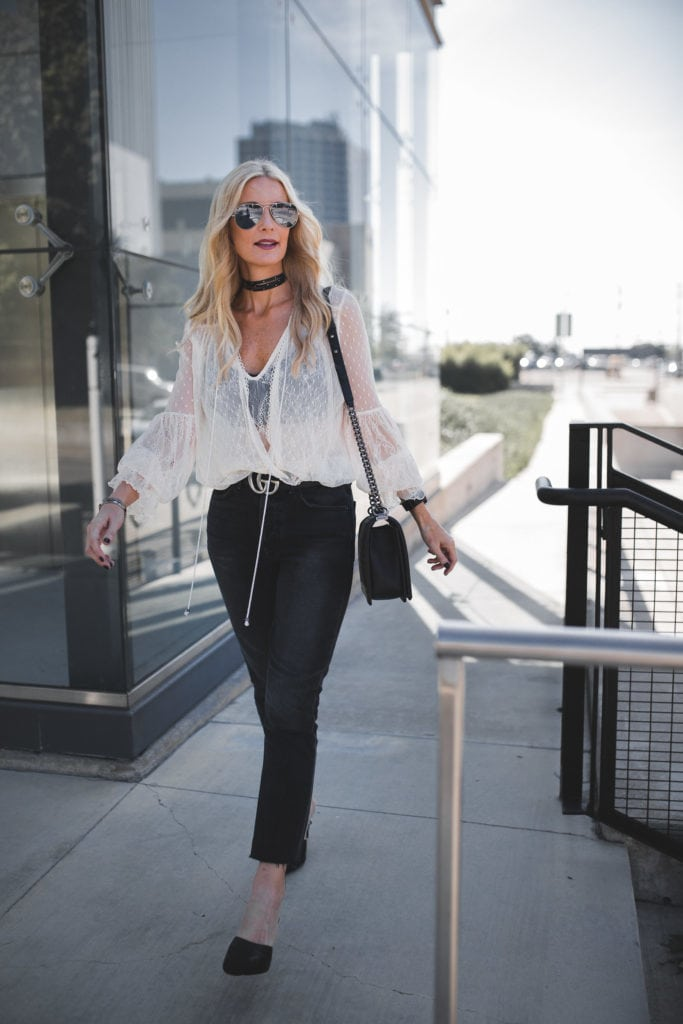 Free People Lace Top, Black cropped jeans, Heather Anderson, Dallas Fashion Blogger