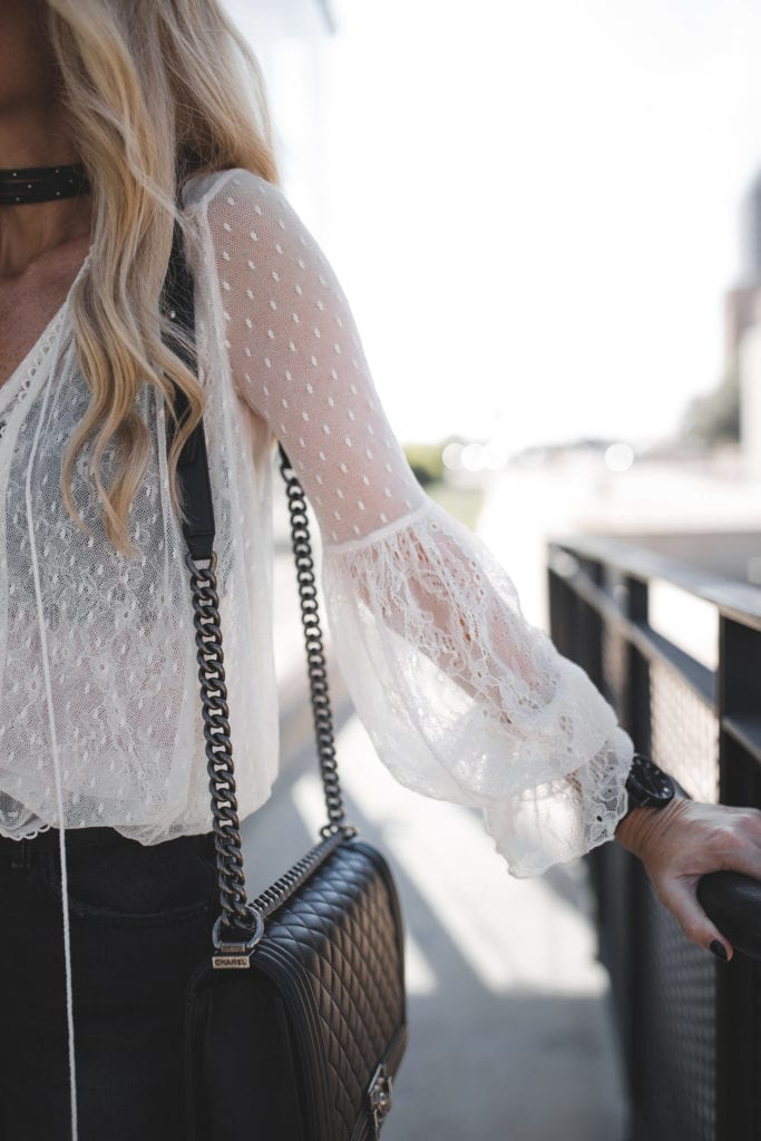 Lace Top, Heather Anderson, Chanel Boybag
