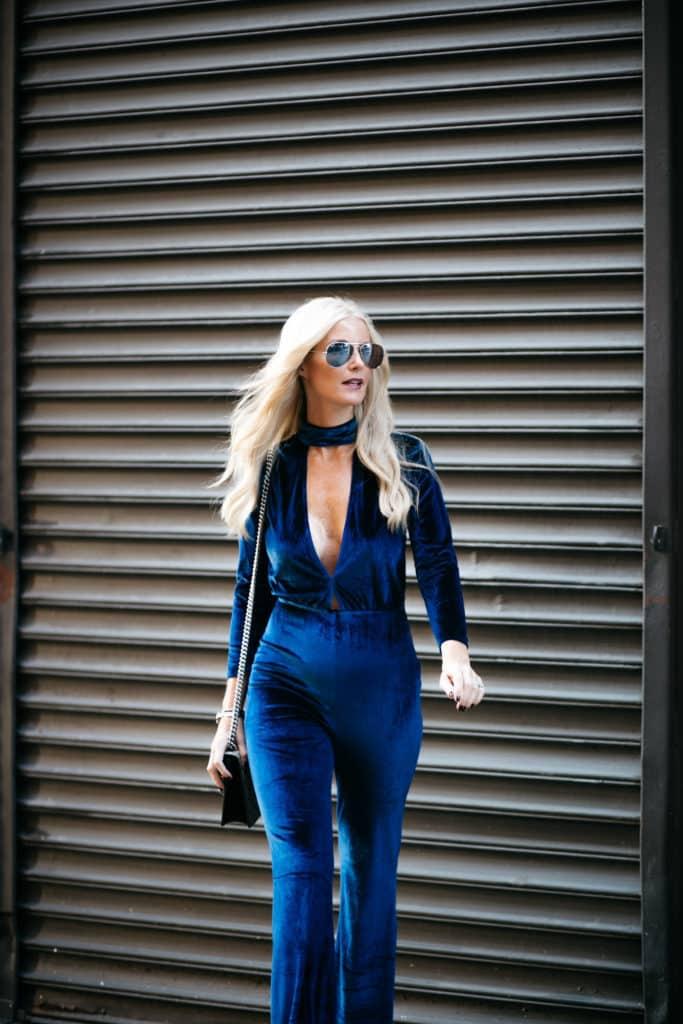 LPA Blue Velvet Jumpsuit