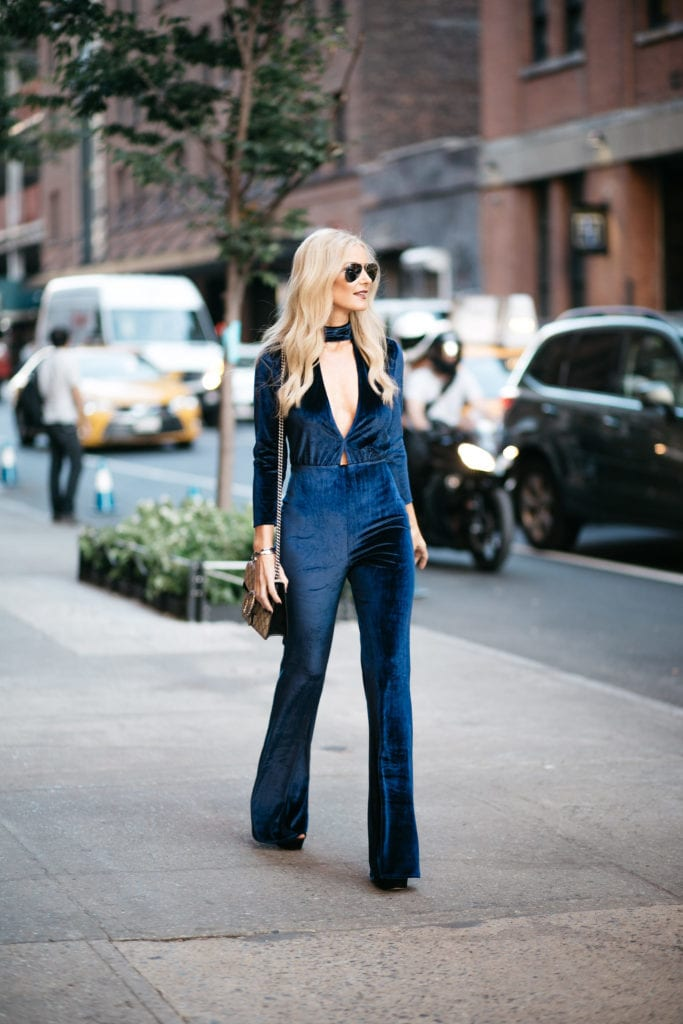 Navy Blue Velvet Jumpsuit