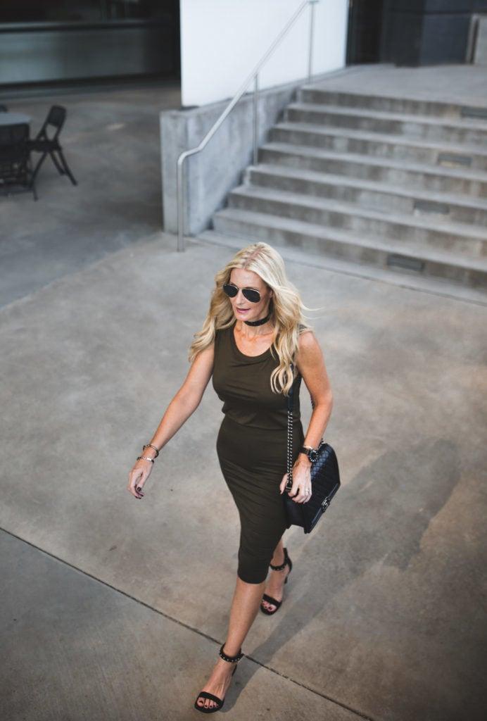 Midi Dress, Chanel Boybag, Dallas Style Blogger, Rag and Bone Heels