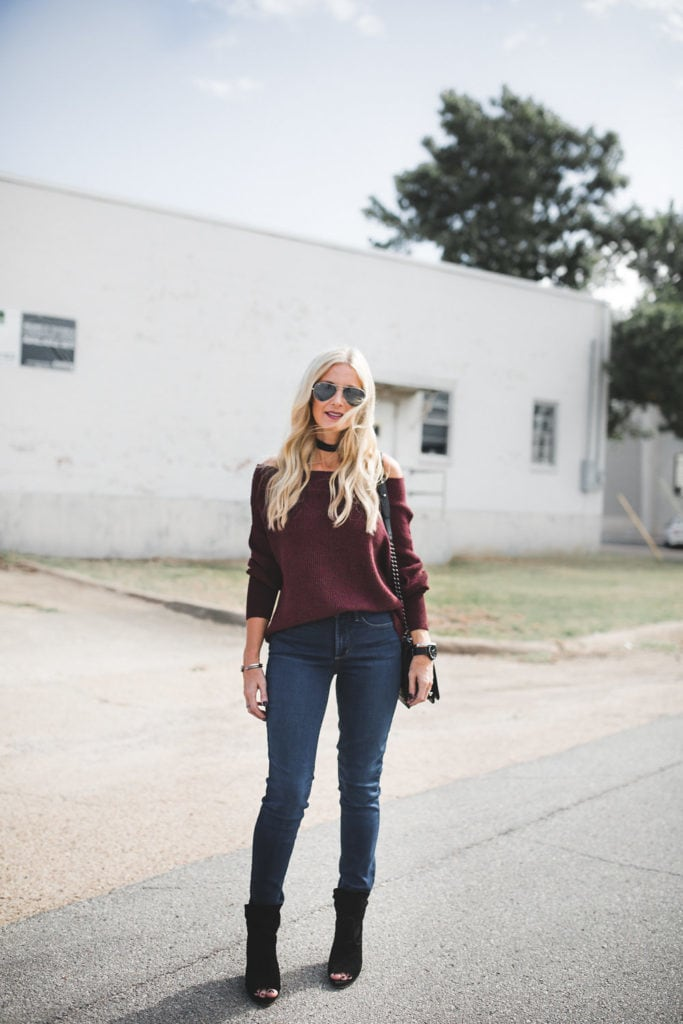 High-rise jeans and off the shoulder sweater