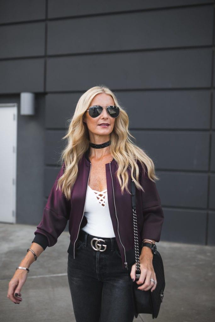 Dallas Style Blogger, Grlfrnd Denim, Black Studded Choker