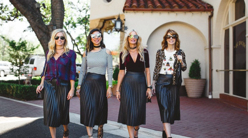 CHIC AT EVERY AGE FEATURING A FAUX LEATHER SKIRT