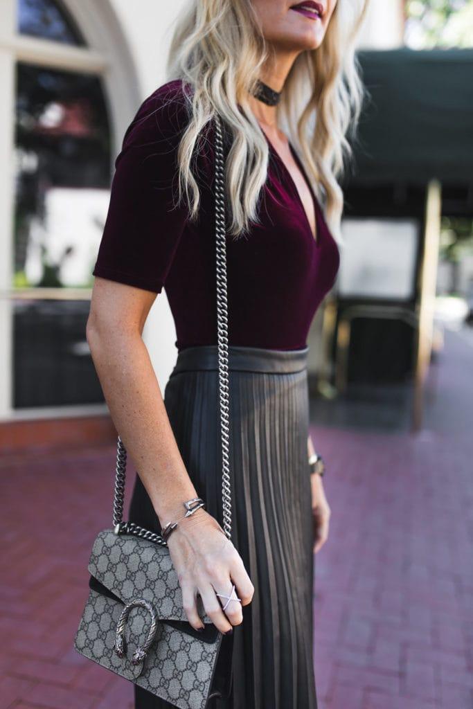 Heather Anderson, Dallas Fashion Blogger, Burgundy Velvet Bodysuit