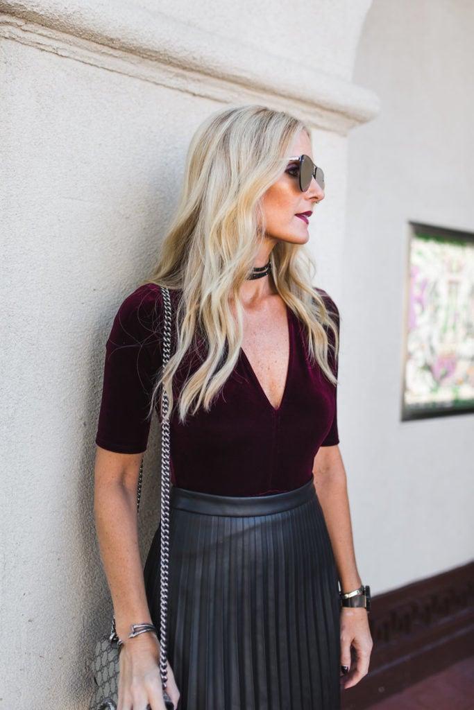 Faux Leather Skirt, Gucci Handbag, Velvet Top