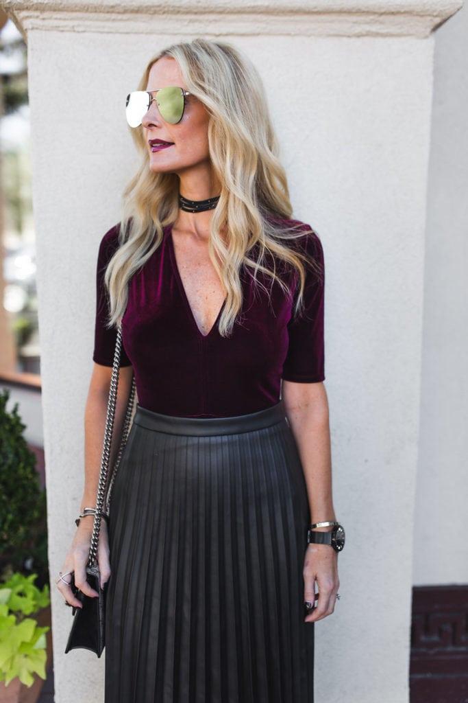 Velvet Bodysuit, Dallas Style Blogger, Black Choker