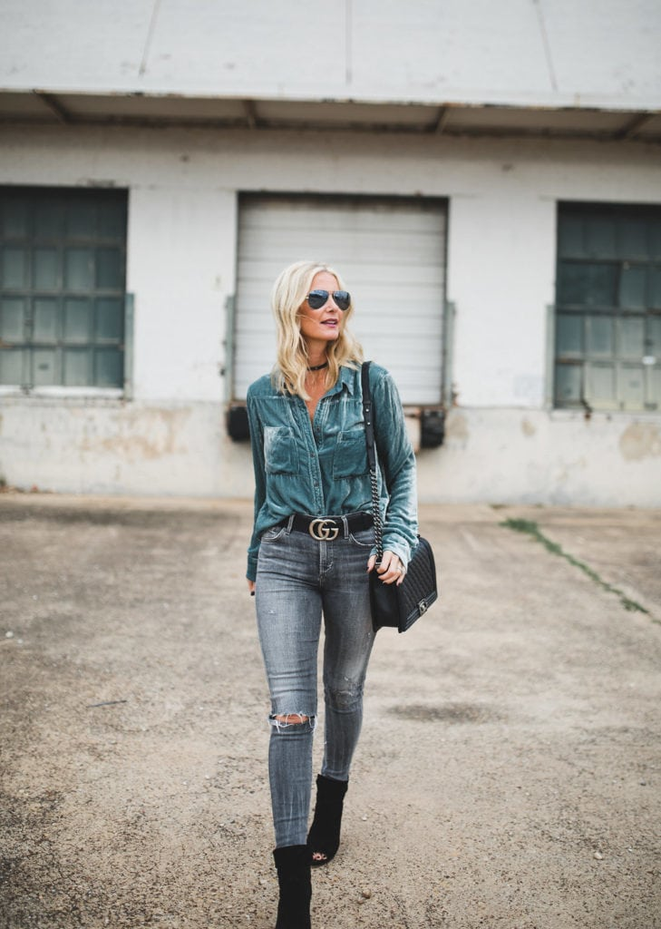 Blue Velvet Button Down