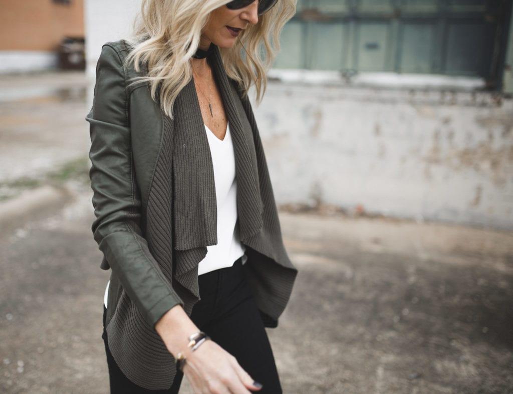 Blanknyc Faux Leather Cardigan