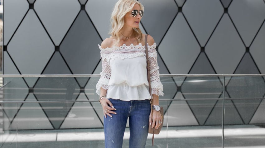 WHITE LACE + DISTRESSED DENIM