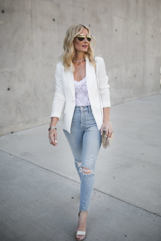 Dallas style blogger wearing white blazer and mother jeans