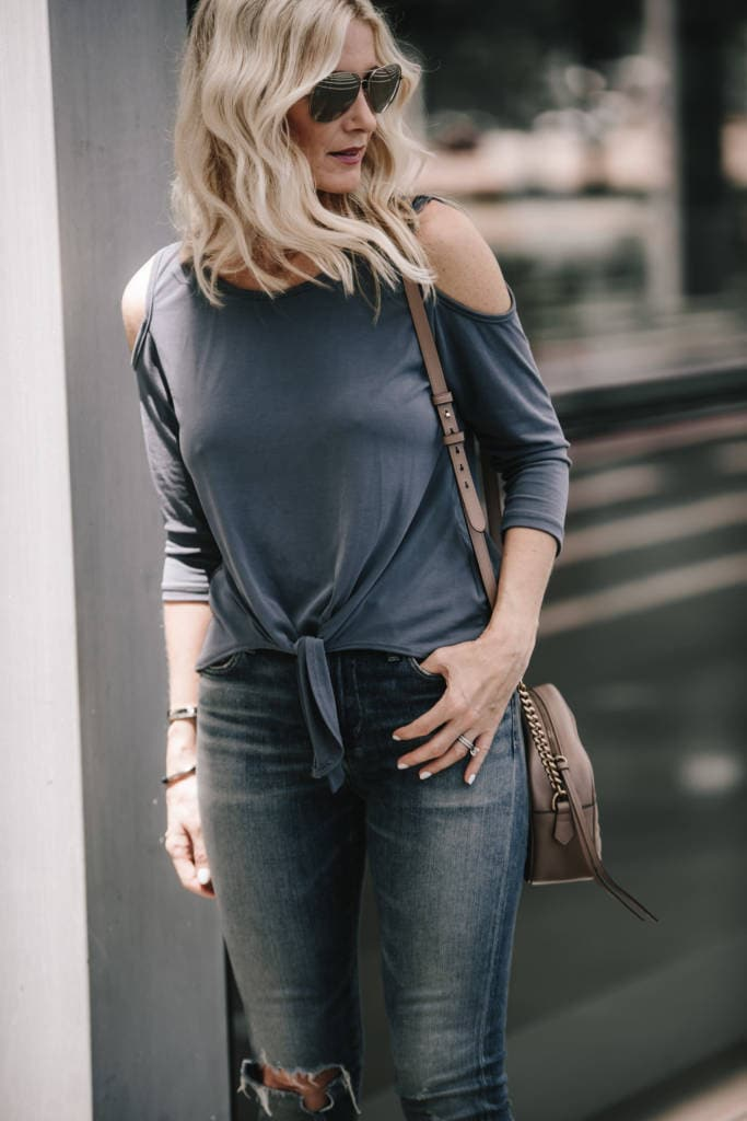 Bobeau Cold Shoulder Top