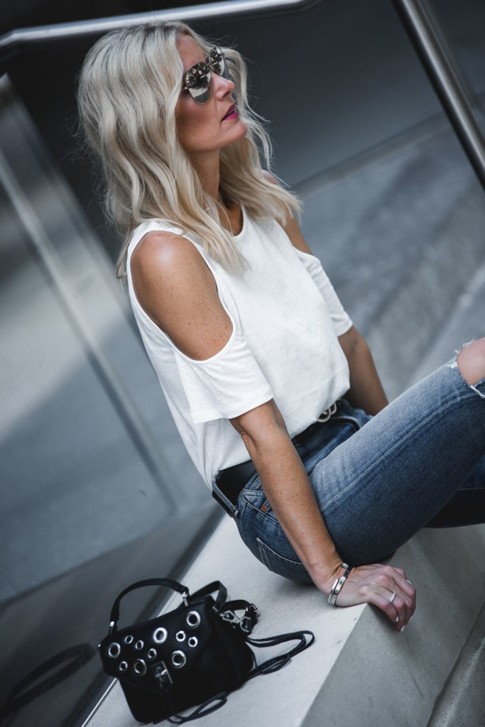 Cold Shoulder White Tee