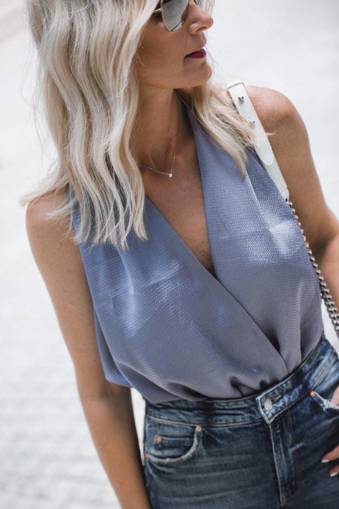 Blue Silk Bodysuit