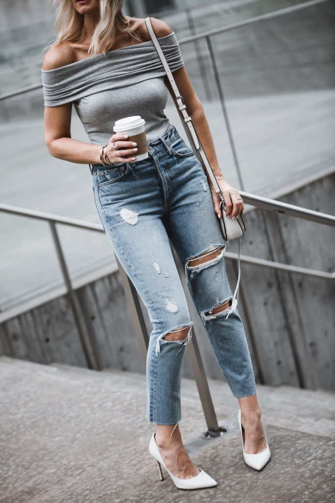 Grlfrnd High-Waisted Ripped Jeans