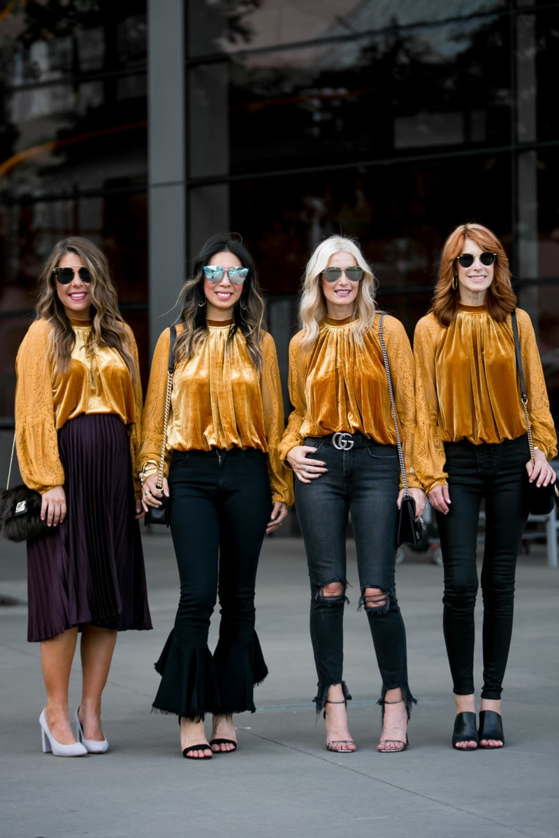 CHIC AT EVERY AGE FEATURING THE PRETTIEST GOLD VELVET TOP UNDER $100