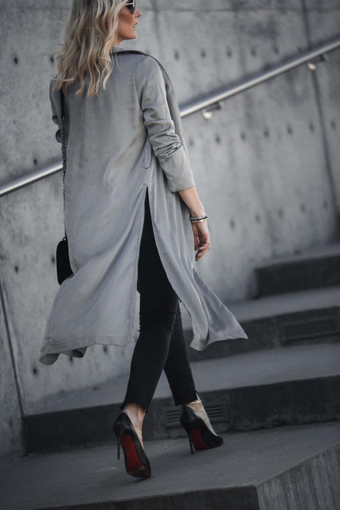 Gray Satin Duster Jacket