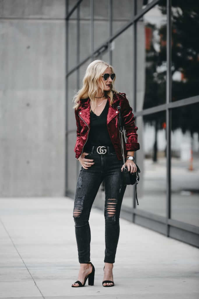 Blanknyc Red Velvet Moto Jacket