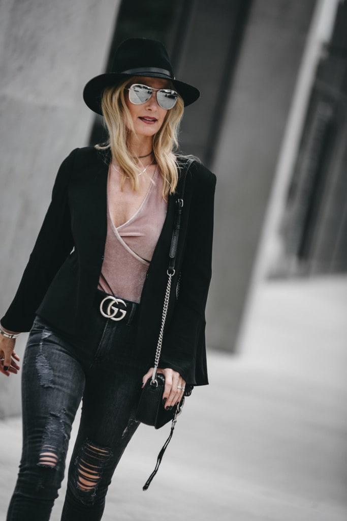 Black Bell Sleeve Blazer