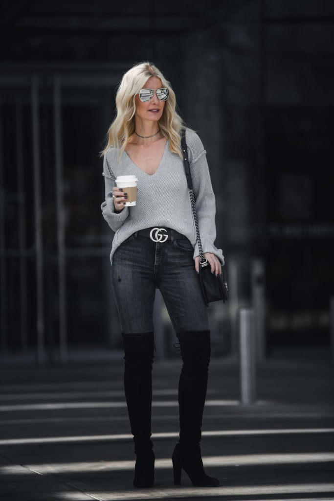 Gray V-Neck Sweater