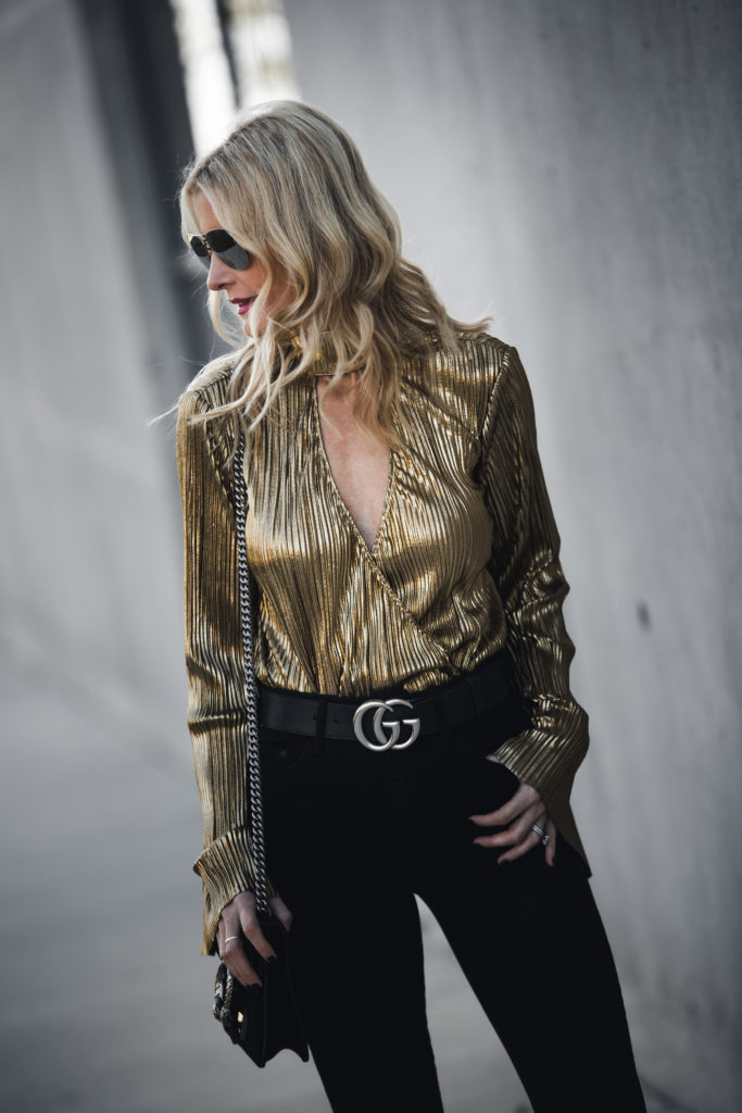House of Harlow Gold Metallic Top