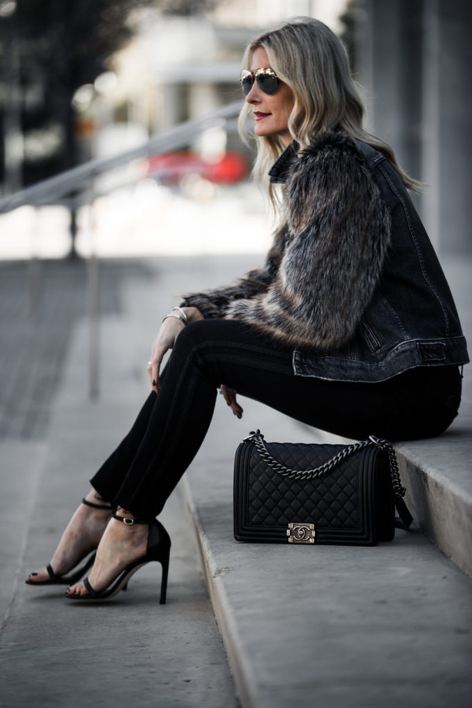 FUAX FUR + FADED DENIM