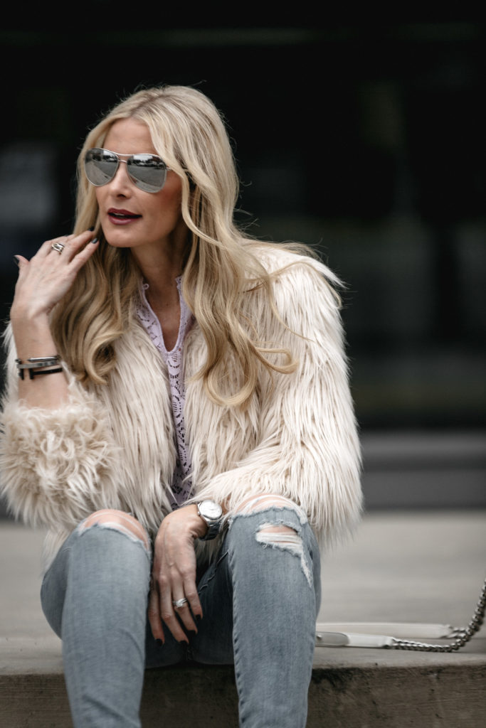 Silver Aviators, Faux Fur Jacket, Style Blogger