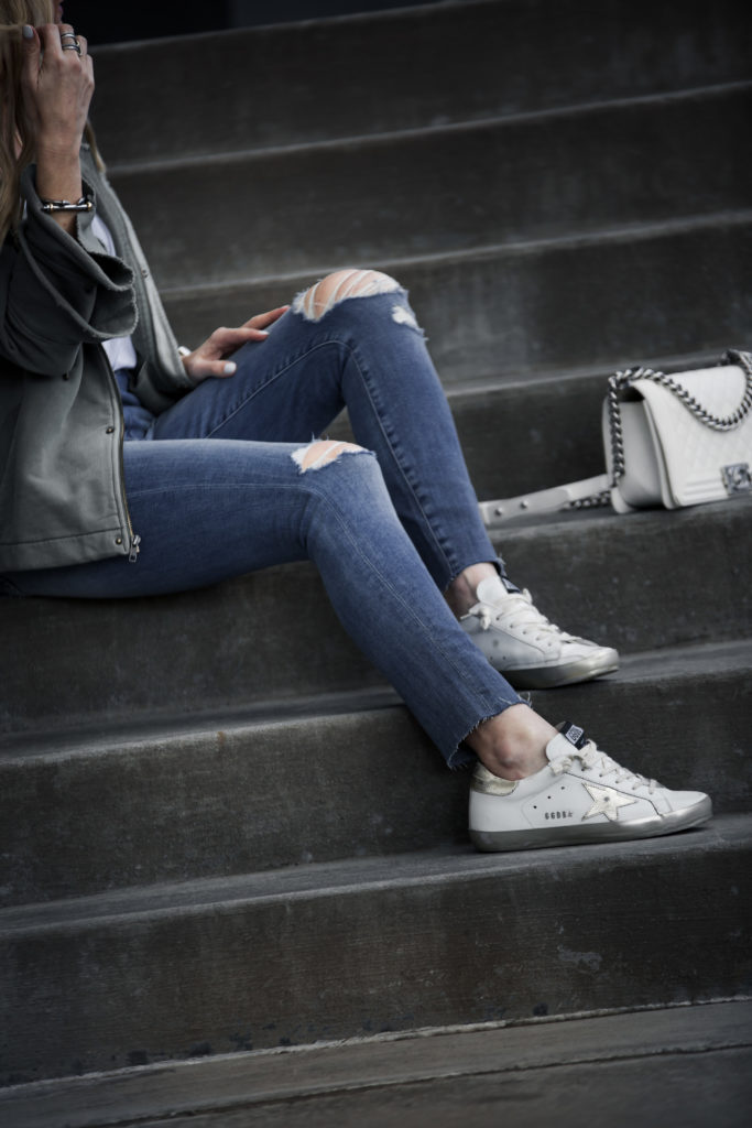 Golden Goose Sneakers, Ripped Jeans Outfit, Chanel boy bag