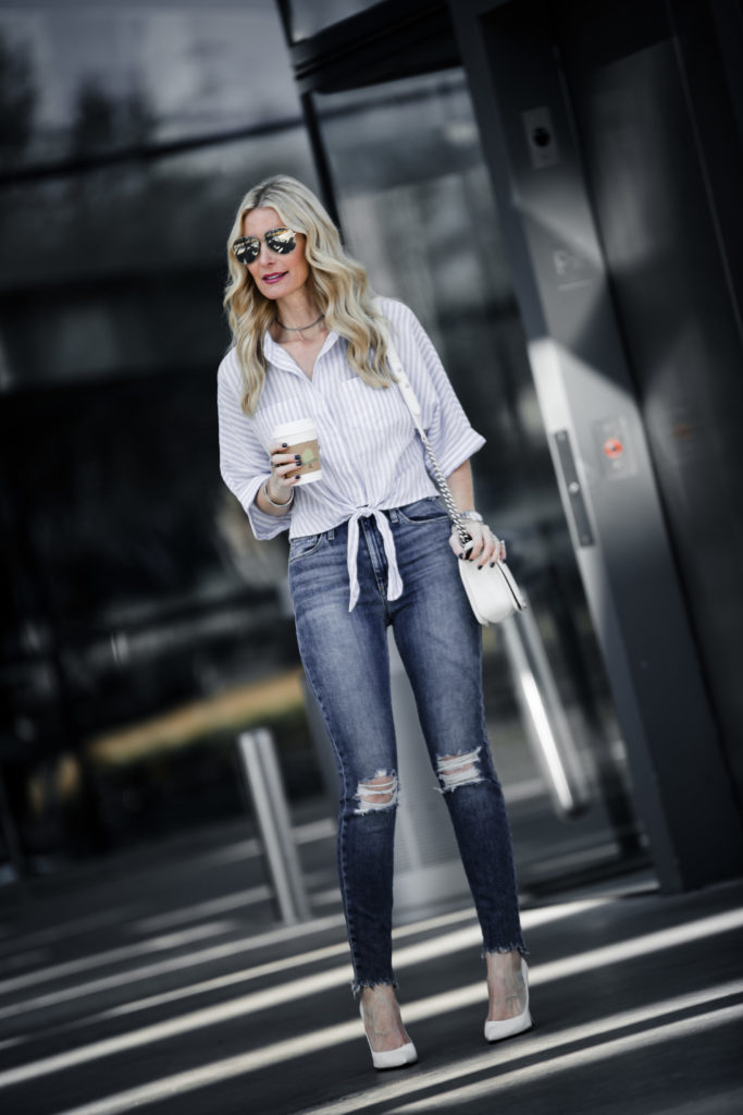 Heather Anderson wearing spring top and ripped jeans